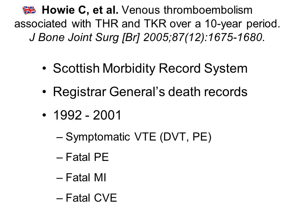 Howie C, et al. Venous thromboembolism associated with THR and TKR over a 10-year period.