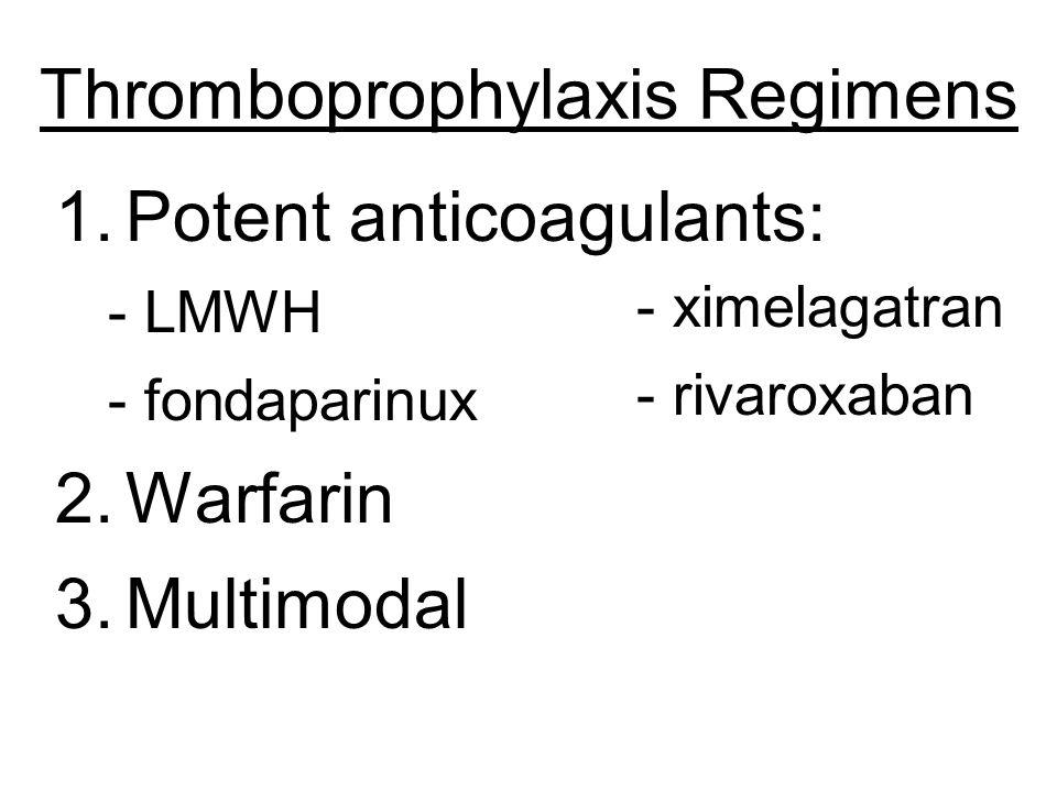 Thromboprophylaxis Regimens 1.Potent anticoagulants: - LMWH - fondaparinux 2.Warfarin 3.Multimodal - ximelagatran - rivaroxaban