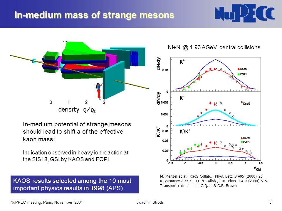 NuPPEC meeting, Paris, November 2004Joachim Stroth5 Ni+Ni @ 1.93 AGeV central collisions M. Menzel et al., KaoS Collab., Phys. Lett. B 495 (2000) 26 K