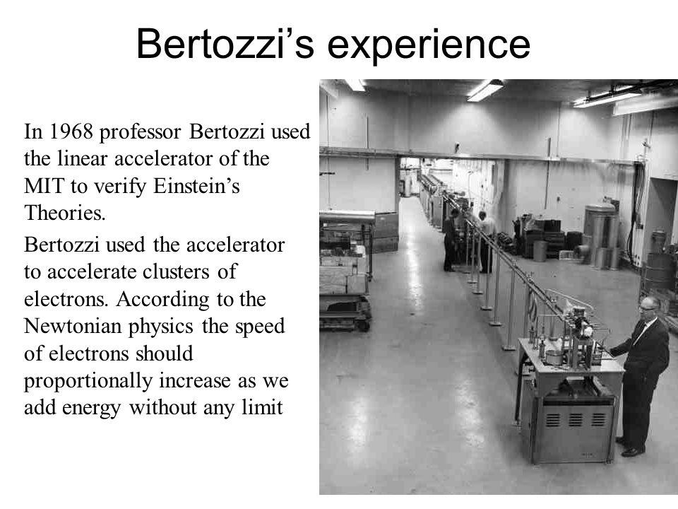 Bertozzi's experience In 1968 professor Bertozzi used the linear accelerator of the MIT to verify Einstein's Theories. Bertozzi used the accelerator t