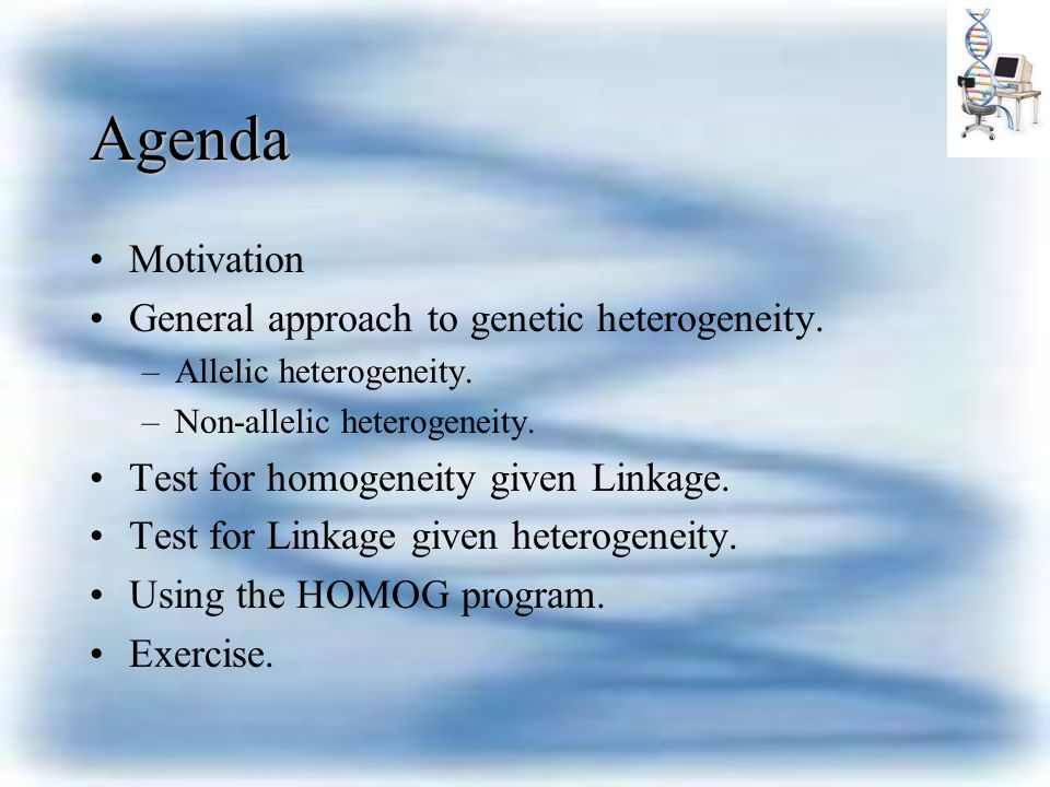 Using HOMOG to perform test Phase1: run a linkage program on the pedigrees calculating likelihood Phase 2: run LODOS on the out put file to receive lod-scores: Z(  )=log 10 L(  )- log 10 L(  =0.5) for each value of  at each pedigree Phase 3:Run HOMOG on calculated lod scores for each  and for each family