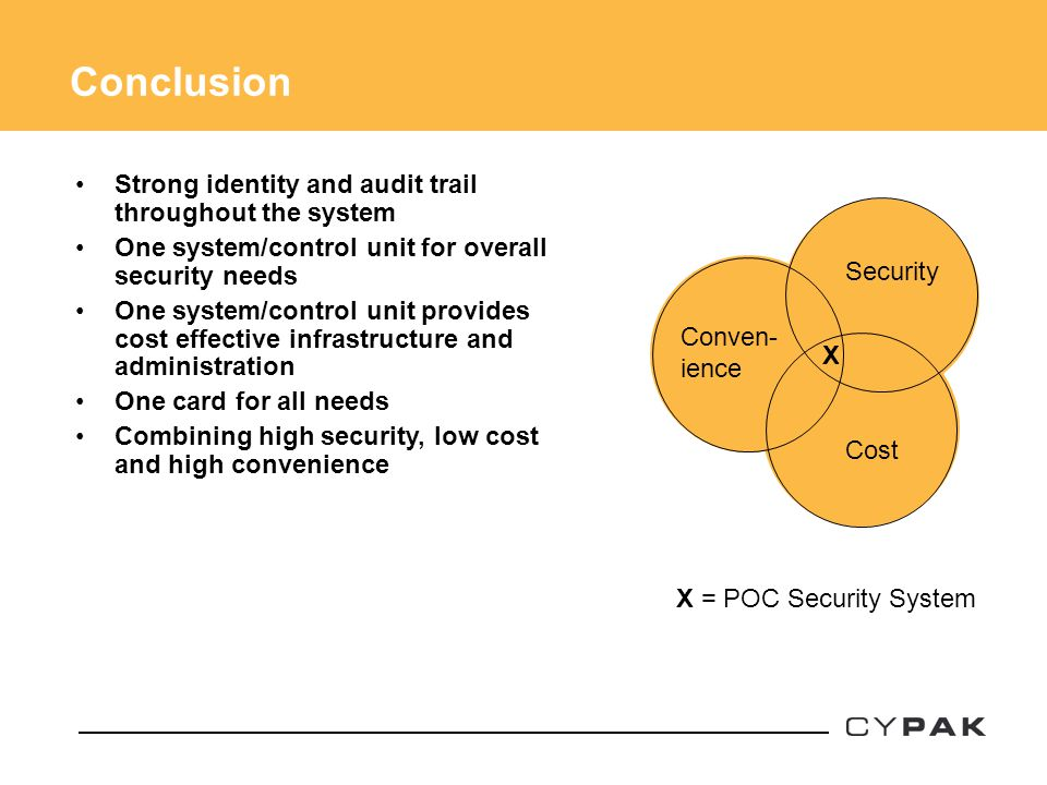 Strong identity and audit trail throughout the system One system/control unit for overall security needs One system/control unit provides cost effecti