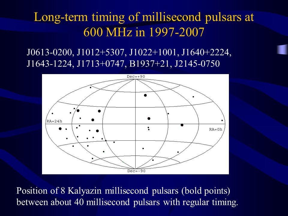 Long-term timing of millisecond pulsars at 600 MHz in 1997-2007 J0613-0200, J1012+5307, J1022+1001, J1640+2224, J1643-1224, J1713+0747, B1937+21, J2145-0750 Position of 8 Kalyazin millisecond pulsars (bold points) between about 40 millisecond pulsars with regular timing.