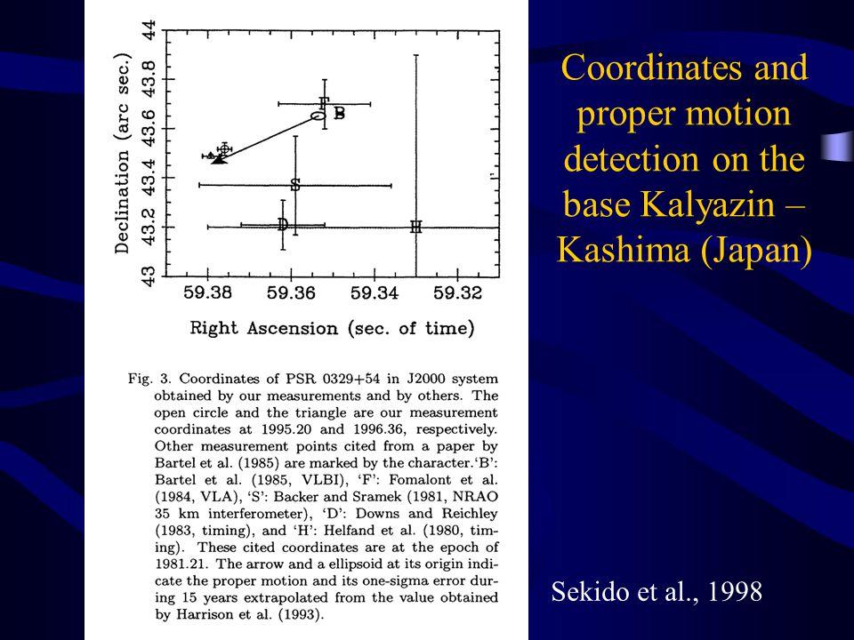 Coordinates and proper motion detection on the base Kalyazin – Kashima (Japan) Sekido et al., 1998