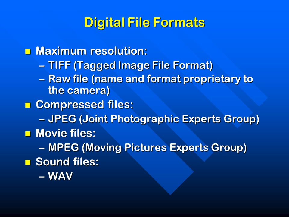 Digital File Formats Maximum resolution: Maximum resolution: –TIFF (Tagged Image File Format) –Raw file (name and format proprietary to the camera) Compressed files: Compressed files: –JPEG (Joint Photographic Experts Group) Movie files: Movie files: –MPEG (Moving Pictures Experts Group) Sound files: Sound files: –WAV