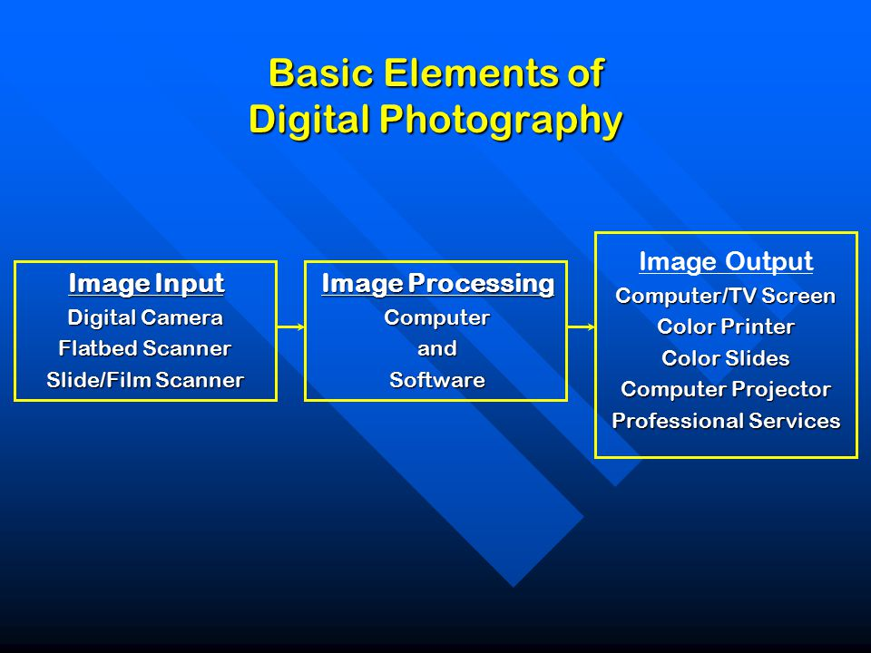 Basic Elements of Digital Photography Image Input Digital Camera Flatbed Scanner Slide/Film Scanner Image Processing ComputerandSoftware Image Output Computer/TV Screen Color Printer Color Slides Computer Projector Professional Services