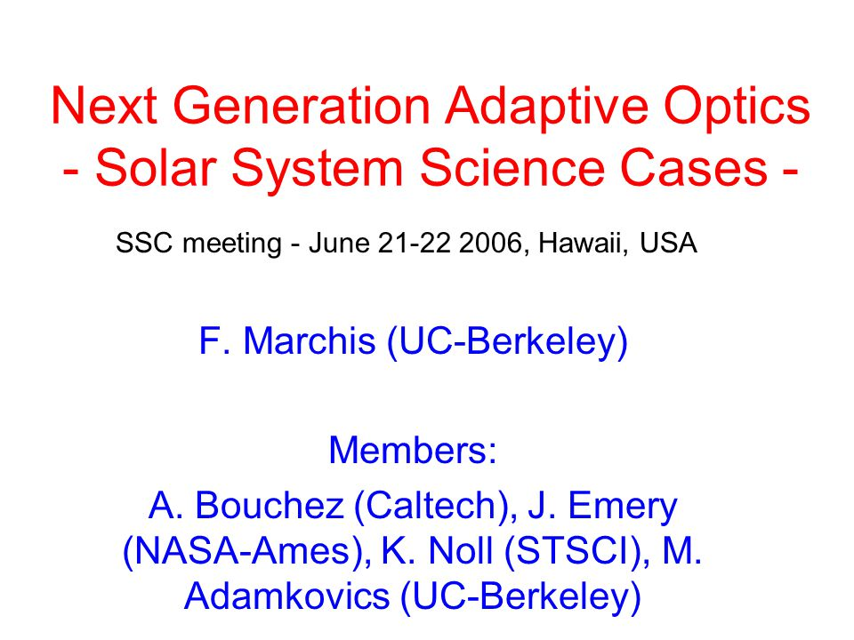 Next Generation Adaptive Optics - Solar System Science Cases - F.