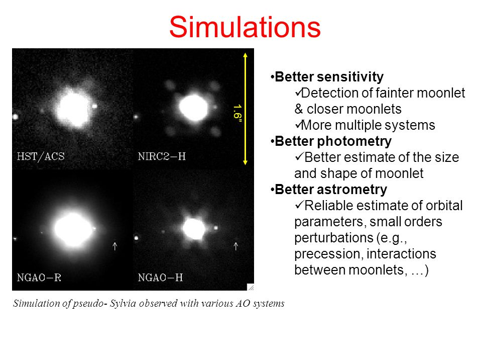Simulations Simulation of pseudo- Sylvia observed with various AO systems 1.6 Better sensitivity Detection of fainter moonlet & closer moonlets More multiple systems Better photometry Better estimate of the size and shape of moonlet Better astrometry Reliable estimate of orbital parameters, small orders perturbations (e.g., precession, interactions between moonlets, …)