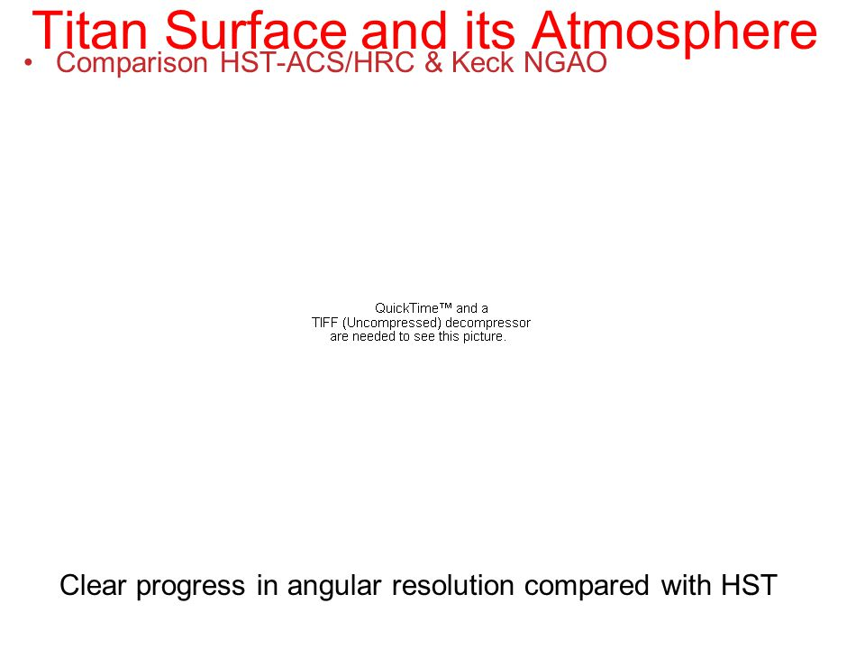 Titan Surface and its Atmosphere Comparison HST-ACS/HRC & Keck NGAO Clear progress in angular resolution compared with HST