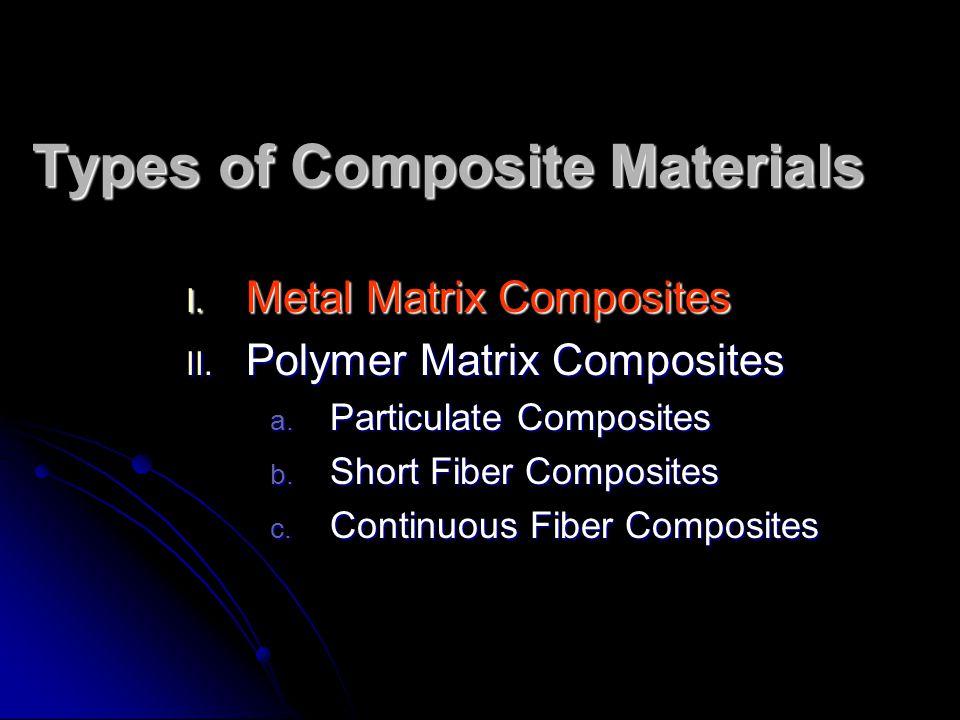 Types of Composite Materials I. Metal Matrix Composites II. Polymer Matrix Composites a. Particulate Composites b. Short Fiber Composites c. Continuou