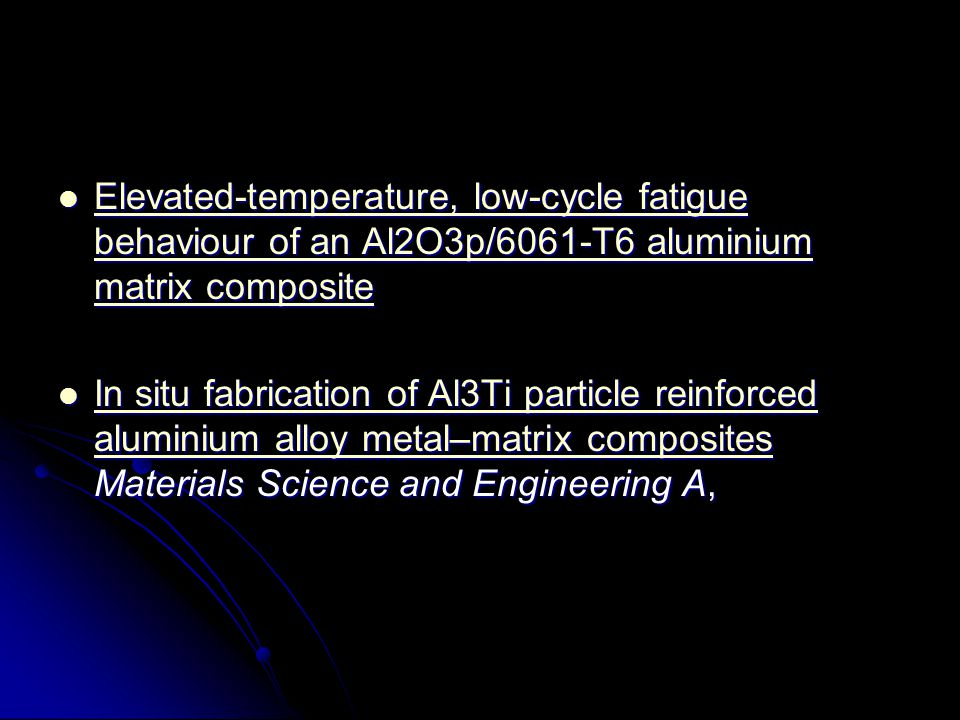 Mechanical properties and grinding performance on aluminum-based metal matrix composites Journal of Materials Processing Technology, Mechanical properties and grinding performance on aluminum-based metal matrix composites Journal of Materials Processing Technology, Mechanical properties and grinding performance on aluminum-based metal matrix composites Mechanical properties and grinding performance on aluminum-based metal matrix composites Investigation of impact behaviour of aluminium based SiC particle reinforced metal–matrix composites Composites Part A: Applied Science and Manufacturing, Volume 38, Issue 2, February 2007, Pages 484-494 Investigation of impact behaviour of aluminium based SiC particle reinforced metal–matrix composites Composites Part A: Applied Science and Manufacturing, Volume 38, Issue 2, February 2007, Pages 484-494 Investigation of impact behaviour of aluminium based SiC particle reinforced metal–matrix composites Investigation of impact behaviour of aluminium based SiC particle reinforced metal–matrix composites