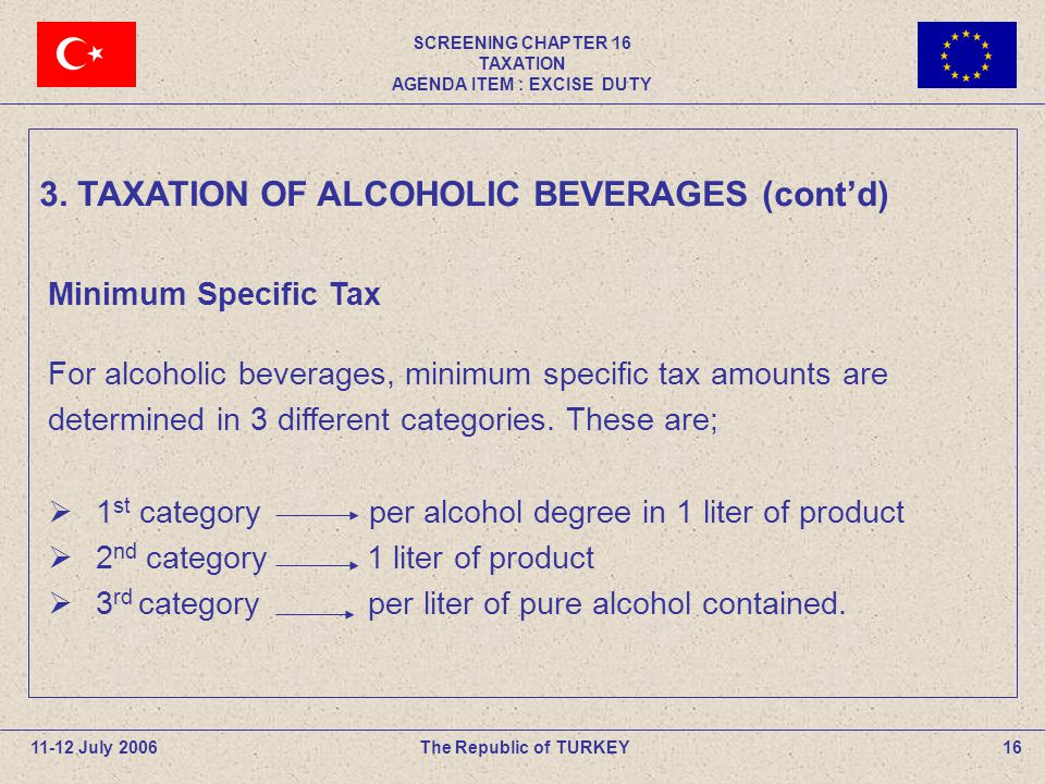 SCREENING CHAPTER 16 TAXATION AGENDA ITEM : EXCISE DUTY 16The Republic of TURKEY11-12 July 2006 Minimum Specific Tax For alcoholic beverages, minimum specific tax amounts are determined in 3 different categories.