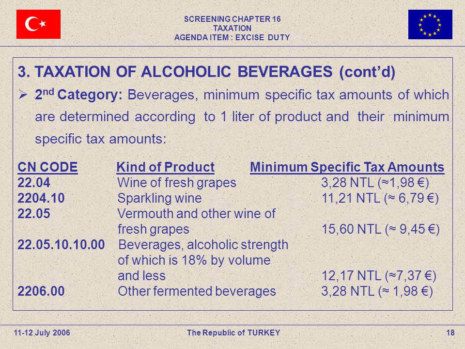 SCREENING CHAPTER 16 TAXATION AGENDA ITEM : EXCISE DUTY 18The Republic of TURKEY11-12 July 2006  2 nd Category: Beverages, minimum specific tax amounts of which are determined according to 1 liter of product and their minimum specific tax amounts: CN CODE Kind of Product Minimum Specific Tax Amounts 22.04 Wine of fresh grapes 3,28 NTL (≈1,98 €) 2204.10 Sparkling wine 11,21 NTL (≈ 6,79 €) 22.05 Vermouth and other wine of fresh grapes 15,60 NTL (≈ 9,45 €) 22.05.10.10.00 Beverages, alcoholic strength of which is 18% by volume and less 12,17 NTL (≈7,37 €) 2206.00 Other fermented beverages 3,28 NTL (≈ 1,98 €) 3.