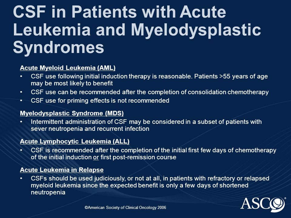 ©American Society of Clinical Oncology 2006 CSF in Patients with Acute Leukemia and Myelodysplastic Syndromes Acute Myeloid Leukemia (AML) CSF use following initial induction therapy is reasonable.