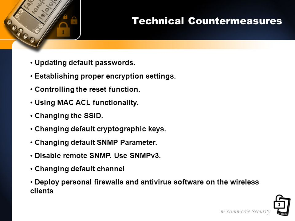 m-commerce Security Technical Countermeasures Updating default passwords.
