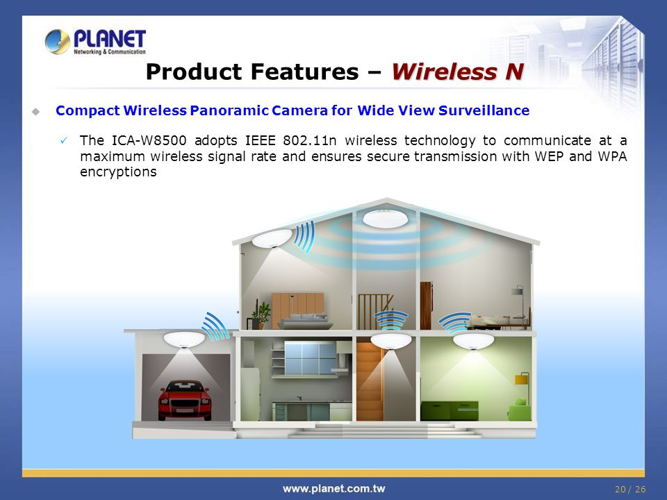 Wireless N Product Features – Wireless N  Compact Wireless Panoramic Camera for Wide View Surveillance The ICA-W8500 adopts IEEE 802.11n wireless technology to communicate at a maximum wireless signal rate and ensures secure transmission with WEP and WPA encryptions 20 / 26