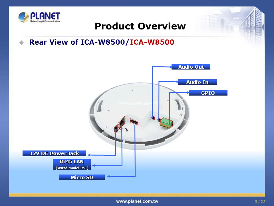 6 / 25 Product Overview  Hardware Installation of ICA-W8500/ICA-W8500 Installation - 1 Stick the given mounting label at the installation location.