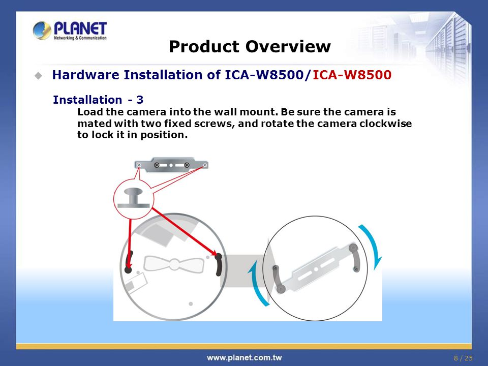 Product Comparison Model Features PLANET ICA-8500 / ICA-W8500 PLANET ICA-HM830W PLANET ICA-8350 Sensor1/2.5 progressive scan RGB CMOS1/3 progressive scan sensor1/2.8 progressive scan sensor Lens Fish-Eye Lens, 186±4°(D/H/V), F= 2.8, f=1.05 mm Fish-Eye Lens, 185°(D/H/V), F= 2.0, f=1.25 mm Fish-Eye Lens, 180±5°(D/H/V), F= 2.0, f=1.25 mm Angle of View 180°/ 360° view Max Resolution @ FPS 1920 x 1920 @ 15fps 1600 x 1200 @ 15fps1536 x 1536 @ 22fps Video Compression H.264 / MPEG-4 / M-JPEGH.264 / M-JPEG IR cut filter ■■■ WDR ■ -- ■ DNR ■ -- ■ Micro SD ■■■ e-PTZ ■■■ Fish-Eye UI Layout 360° source image (1O) 360° source view with 3 PTZ (1O3R) 180° double broad view (2P)180° source view with 3 PTZ (1P3R) Quad view (4R) 360° source image (1O) 360° source view with 3 PTZ (1O3R)  180° double broad view (2P) 180° source view with 3 PTZ (1P3R) Quad view (4R) 360° source image (1O) 360° source view with 3 PTZ (1O3R)  180° double broad view (2P) 180° source view with 3 PTZ (1P3R) Quad view (4R) 29 / 25