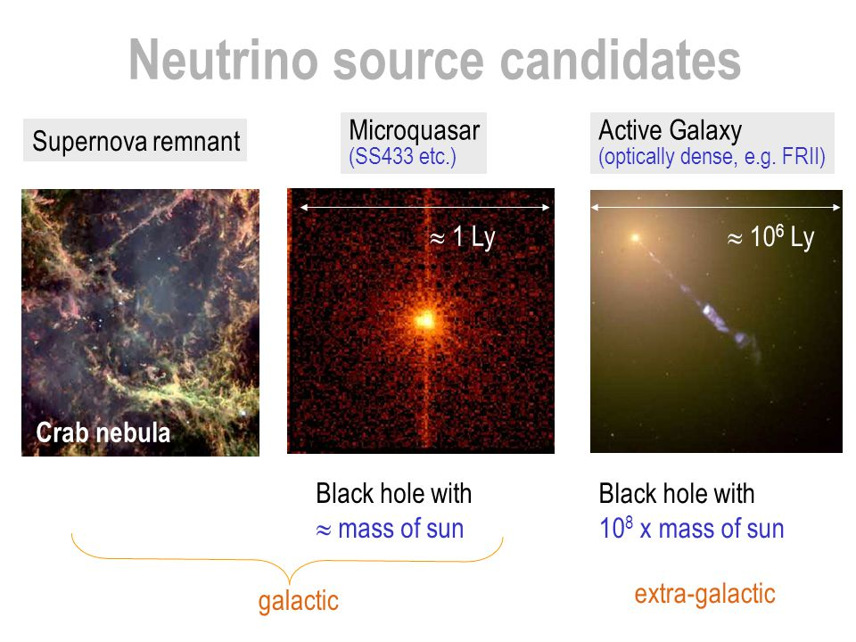 Neutrino source candidates Active Galaxy (optically dense, e.g. FRII) Black hole with 10 8 x mass of sun  10 6 Ly extra-galactic Supernova remnant Mi
