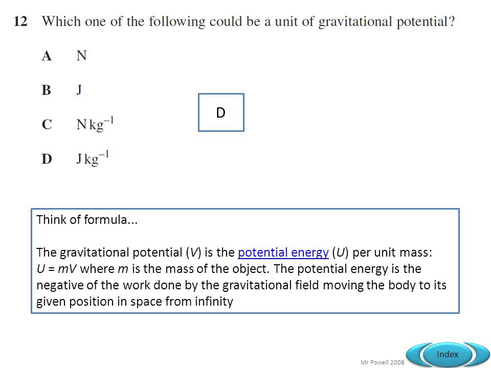 Mr Powell 2008 Index D Think of formula...