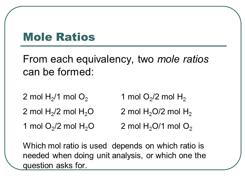 Mole Ratios From each equivalency, two mole ratios can be formed: 2 mol H 2 /1 mol O 2 1 mol O 2 /2 mol H 2 2 mol H 2 /2 mol H 2 O2 mol H 2 O/2 mol H