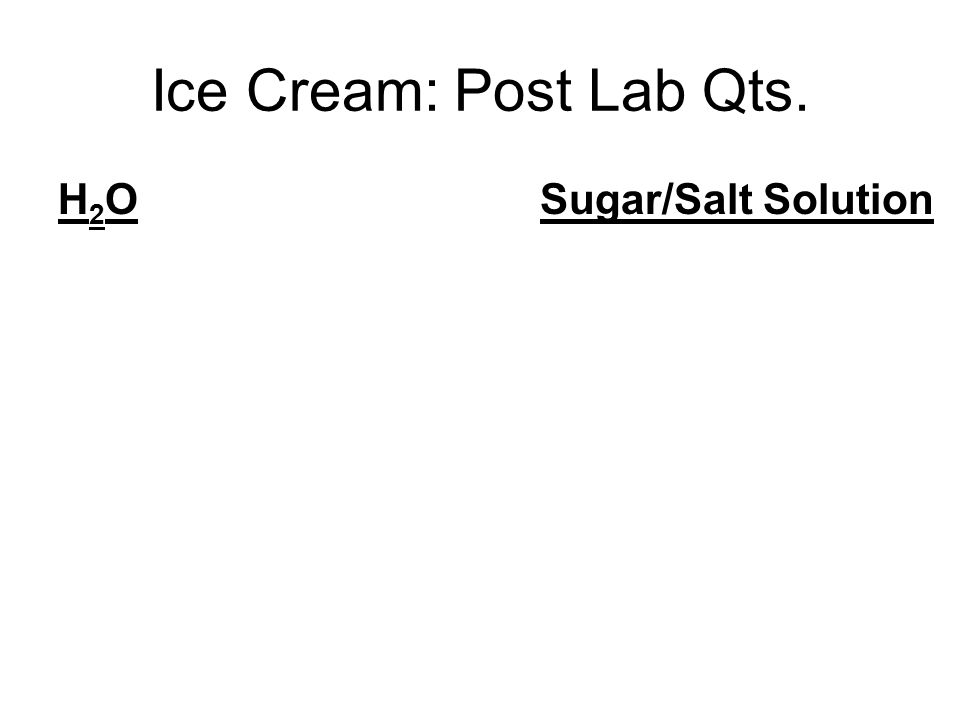 Ice Cream: Post Lab Qts. H 2 O Sugar/Salt Solution