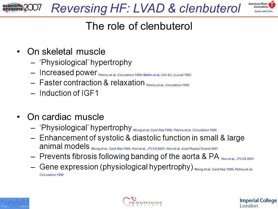 The role of clenbuterol On skeletal muscle –'Physiological' hypertrophy –Increased power Petrou et al, Circulation 1999; Maltin et al, Clin Sci (Lond) 1993 –Faster contraction & relaxation Petrou et al, Circulation 1999 –Induction of IGF1 On cardiac muscle –'Physiological' hypertrophy Wong et al, Card Res 1998; Petrou et al, Circulation 1995 –Enhancement of systolic & diastolic function in small & large animal models Wong et al, Card Res 1998; Hon et al, JTCVS 2001; Hon et al, Acta Physiol Scand 2001 –Prevents fibrosis following banding of the aorta & PA Hon et al, JTCVS 2001 –Gene expression (physiological hypertrophy) Wong et al, Card Res 1998; Petrou et al, Circulation 1995