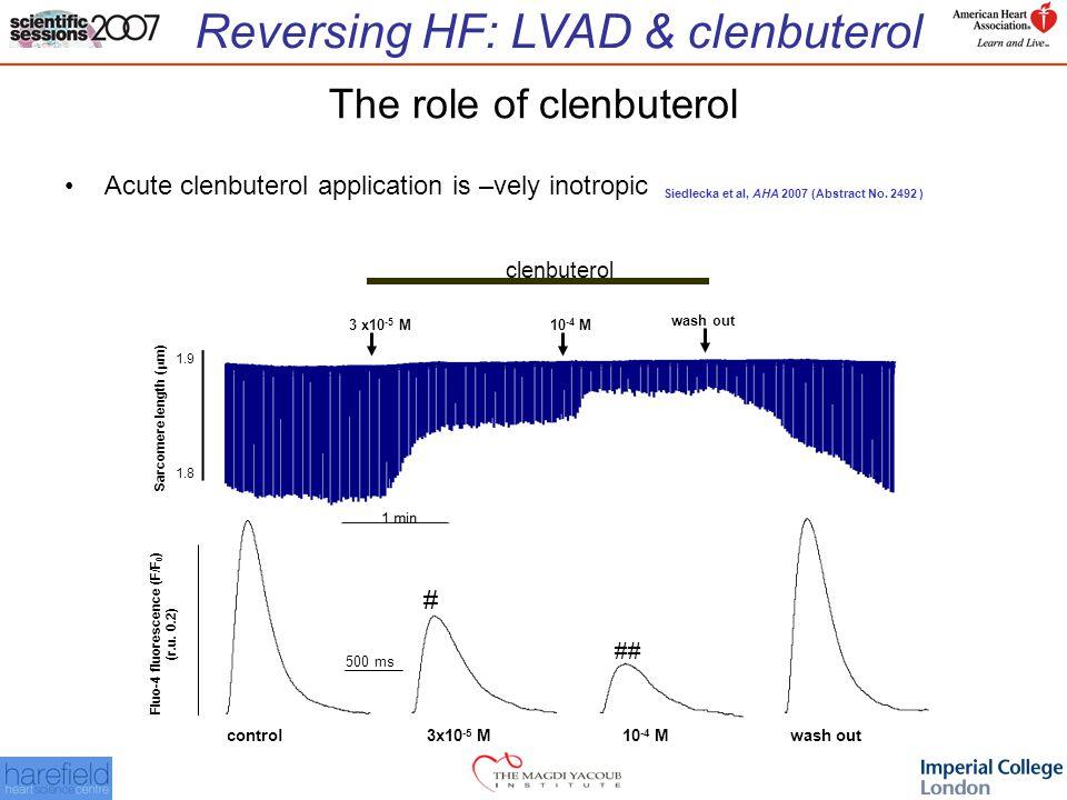 Reversing HF: LVAD & clenbuterol Fluo-4 fluorescence (F/F 0 ) (r.u.