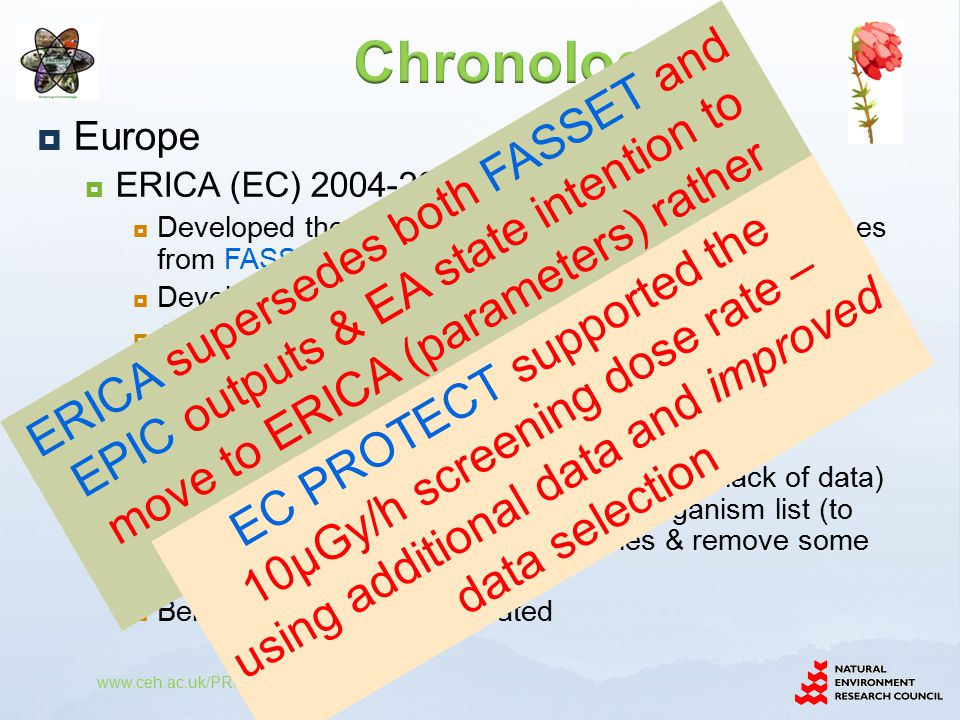  Europe  ERICA (EC) 2004-2007  Developed the CR and effects (FREDERICA) databases from FASSET & EPIC  Developed FASSET dosimetry methodology  Adapted 'guidance' for selecting missing CRs from EA SP1a  Output - the ERICA Tool implementing the ERICA integrated approach  More generic ecosystem types (because of lack of data) than FASSET and adapted reference organism list (to encapsulate European protect species & remove some unjustified sub-categories)  Being maintained and updated www.ceh.ac.uk/PROTECT ERICA supersedes both FASSET and EPIC outputs & EA state intention to move to ERICA (parameters) rather than develop R&D128 EC PROTECT supported the 10µGy/h screening dose rate – using additional data and improved data selection