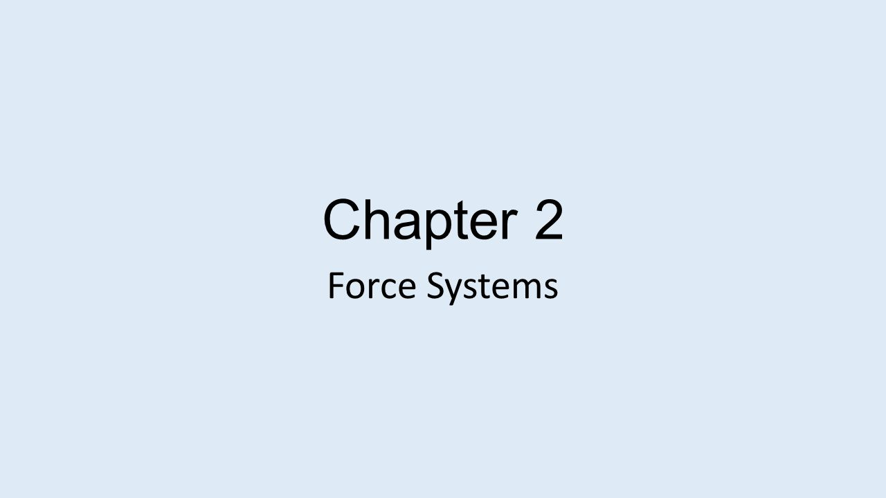 Chapter 2 Force Systems