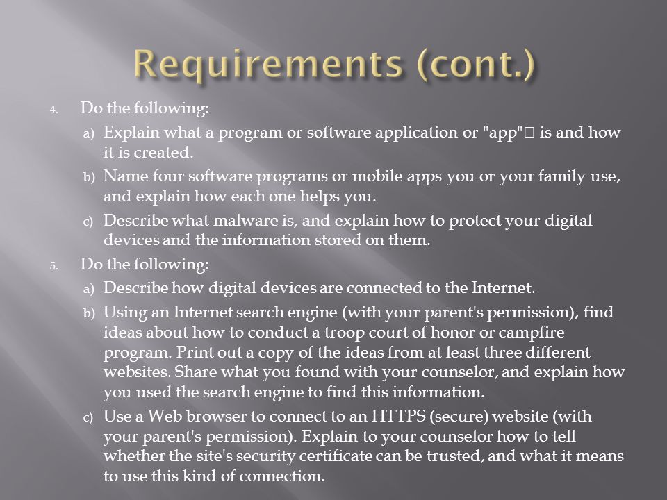 4. Do the following: a) Explain what a program or software application or