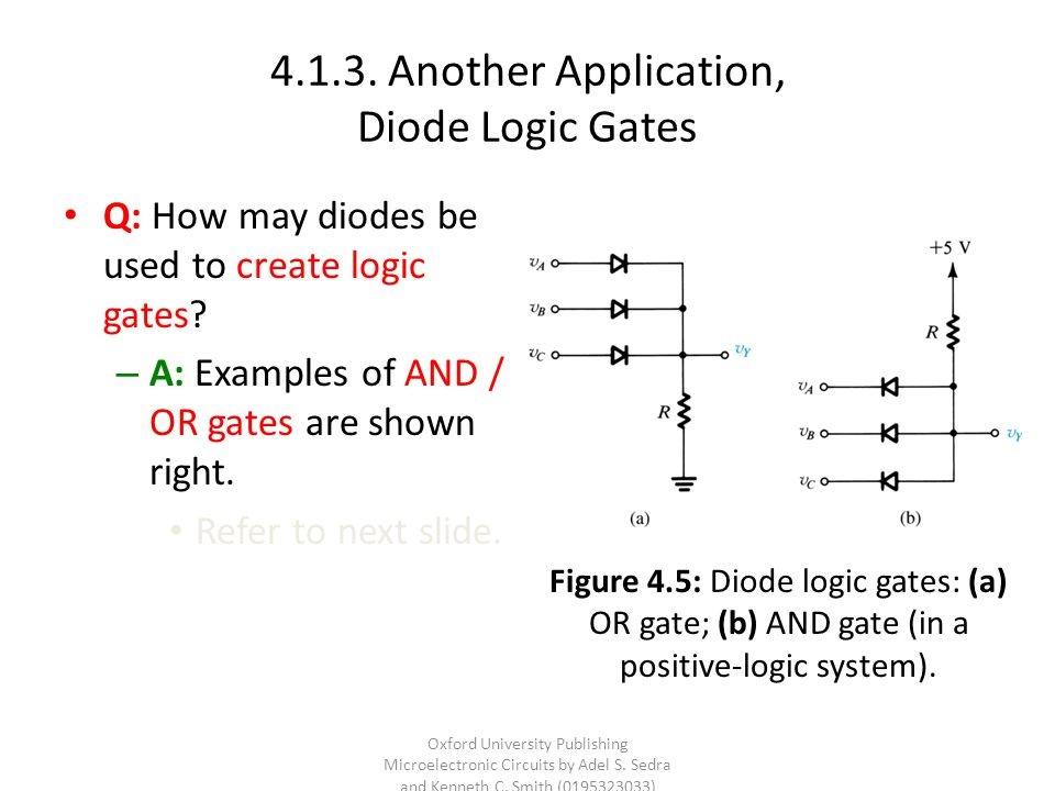 4.1.3. Another Application, Diode Logic Gates Q: How may diodes be used to create logic gates? – A: Examples of AND / OR gates are shown right. Refer
