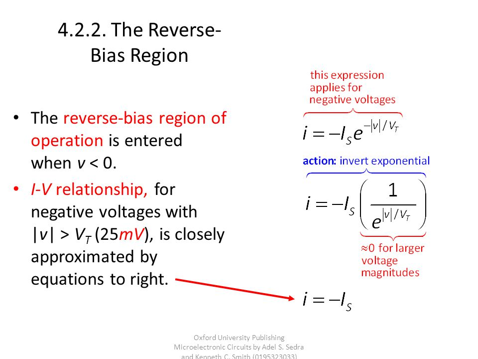 4.2.2.The Reverse- Bias Region The reverse-bias region of operation is entered when v < 0.
