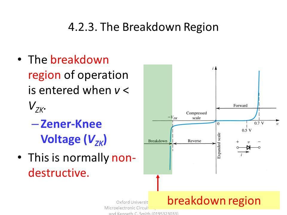 4.2.3.The Breakdown Region The breakdown region of operation is entered when v < V ZK.