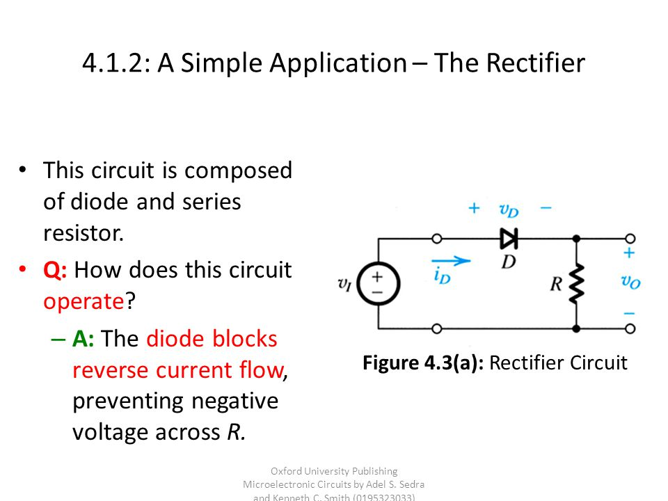4.1.2: A Simple Application – The Rectifier This circuit is composed of diode and series resistor. Q: How does this circuit operate? – A: The diode bl