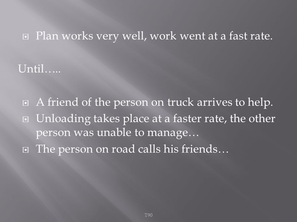  Plan works very well, work went at a fast rate. Until…..
