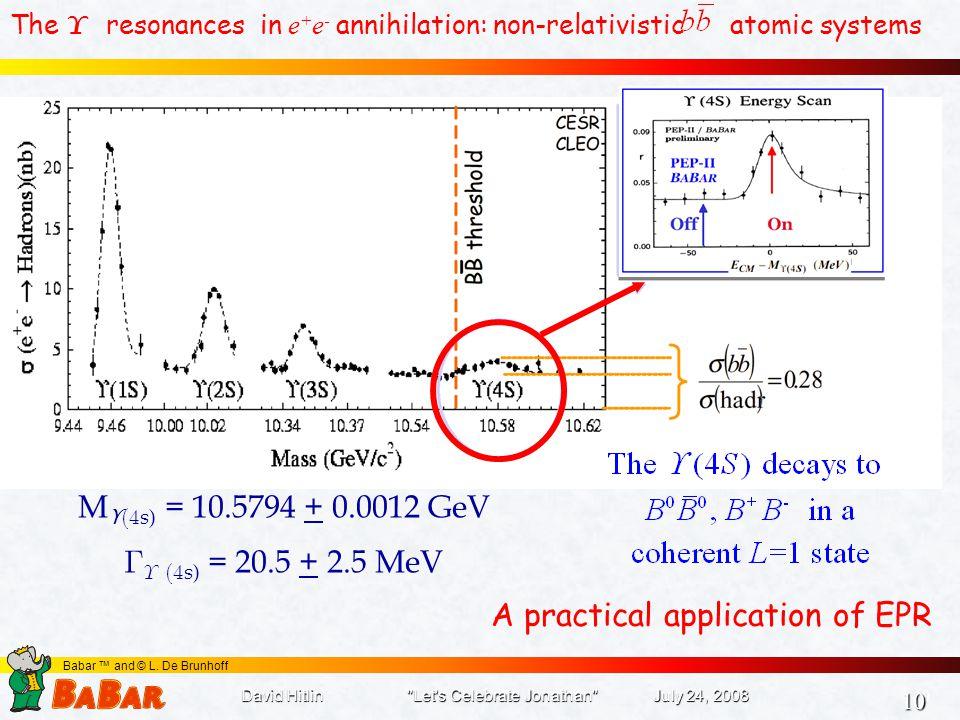 10 10 Babar ™ and © L. De Brunhoff The  resonances in e + e - annihilation: non-relativistic atomic systems M ϒ  s) = 10.5794 + 0.0012 GeV   s
