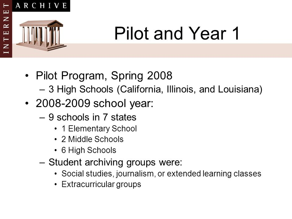 Pilot and Year 1 Pilot Program, Spring 2008 –3 High Schools (California, Illinois, and Louisiana) 2008-2009 school year: –9 schools in 7 states 1 Elementary School 2 Middle Schools 6 High Schools –Student archiving groups were: Social studies, journalism, or extended learning classes Extracurricular groups