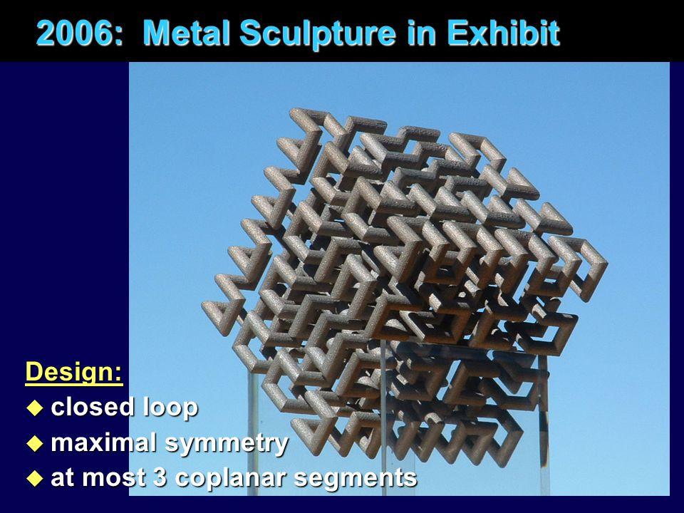2006: Metal Sculpture in Exhibit 2006: Metal Sculpture in ExhibitDesign: u closed loop u maximal symmetry u at most 3 coplanar segments