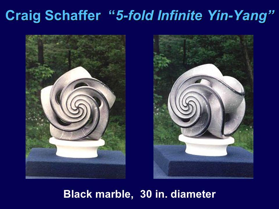 Craig Schaffer 5-fold Infinite Yin-Yang Black marble, 30 in. diameter