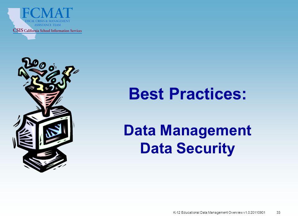 Best Practices: Data Management Data Security K-12 Educational Data Management Overview v1.0 20110901 33