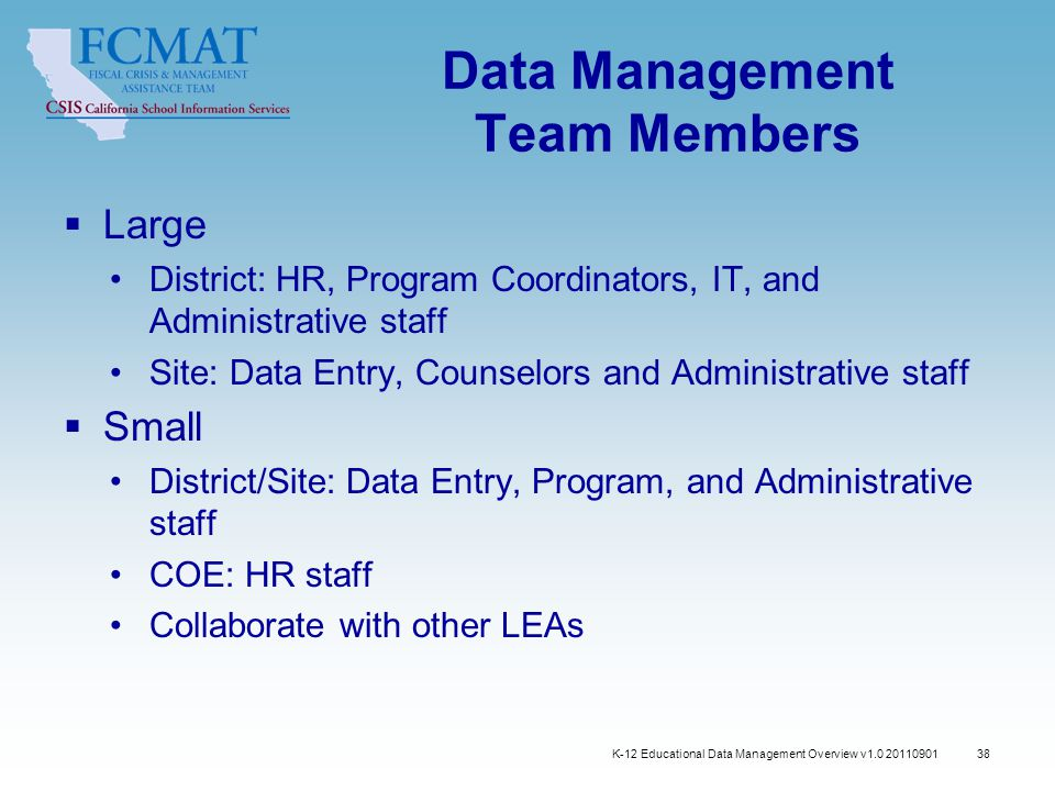 38 Data Management Team Members  Large District: HR, Program Coordinators, IT, and Administrative staff Site: Data Entry, Counselors and Administrative staff  Small District/Site: Data Entry, Program, and Administrative staff COE: HR staff Collaborate with other LEAs K-12 Educational Data Management Overview v1.0 20110901
