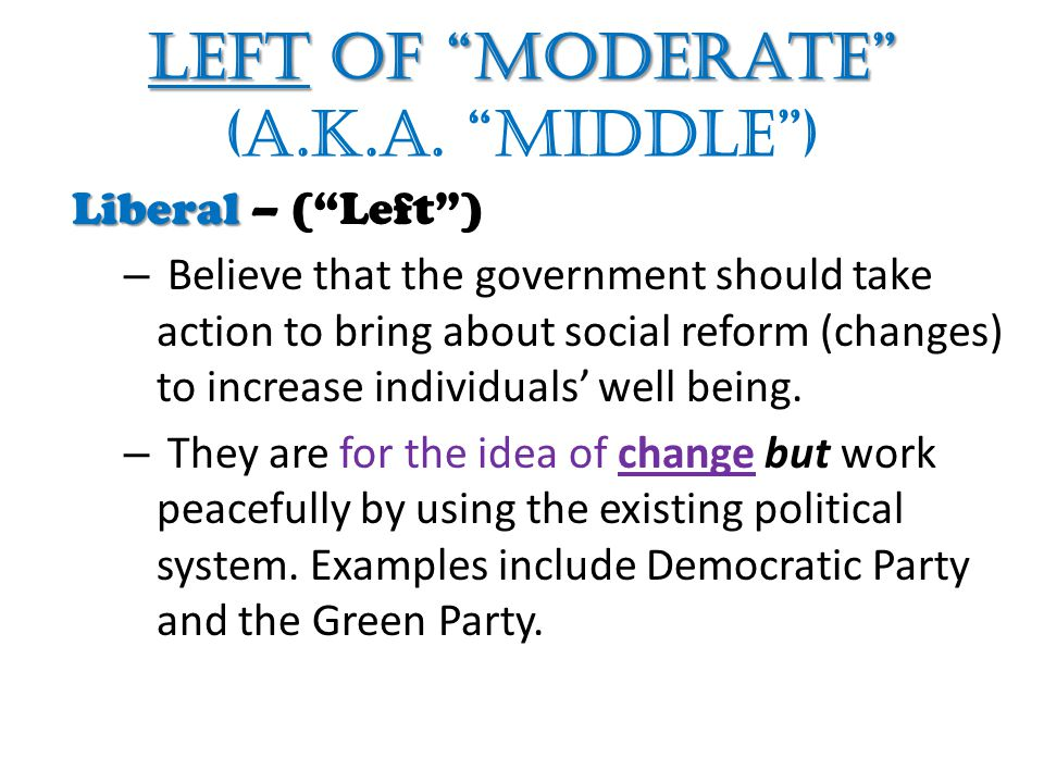 Left of Moderate Left of Moderate (a.k.a.