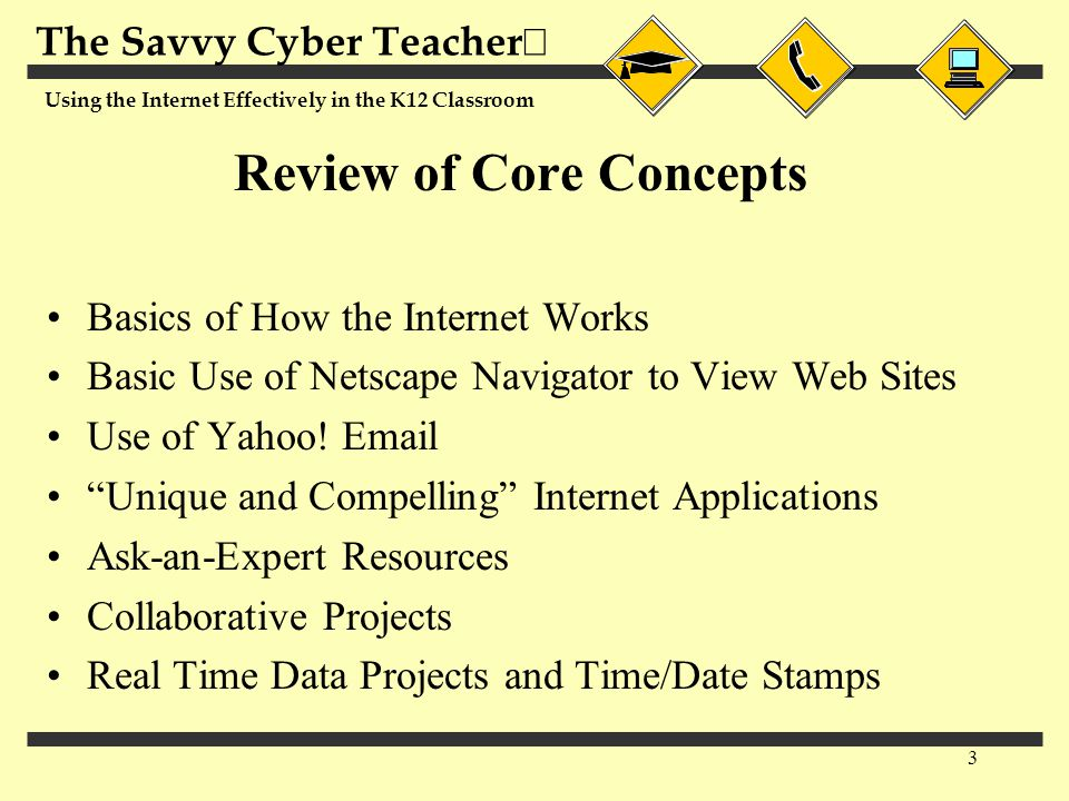 The Savvy Cyber Teacher  Using the Internet Effectively in the K12 Classroom 3 Review of Core Concepts Basics of How the Internet Works Basic Use of