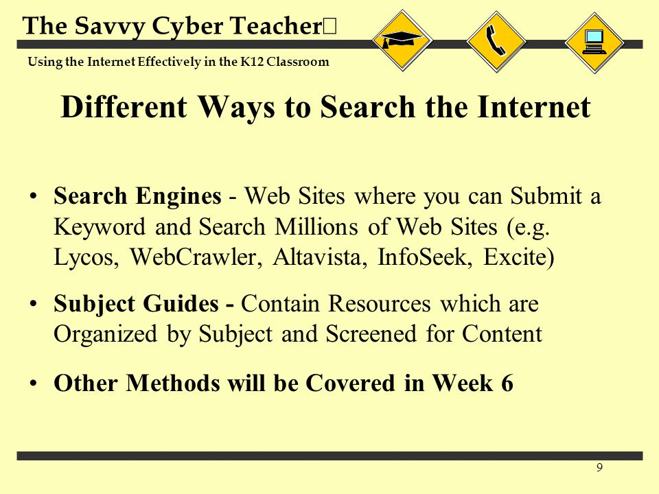 The Savvy Cyber Teacher  Using the Internet Effectively in the K12 Classroom 9 Different Ways to Search the Internet Search Engines - Web Sites where