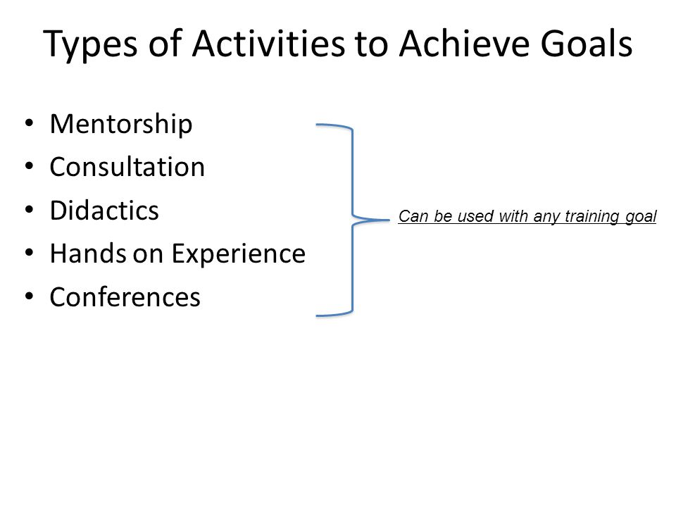 Types of Activities to Achieve Goals Mentorship Consultation Didactics Hands on Experience Conferences Can be used with any training goal