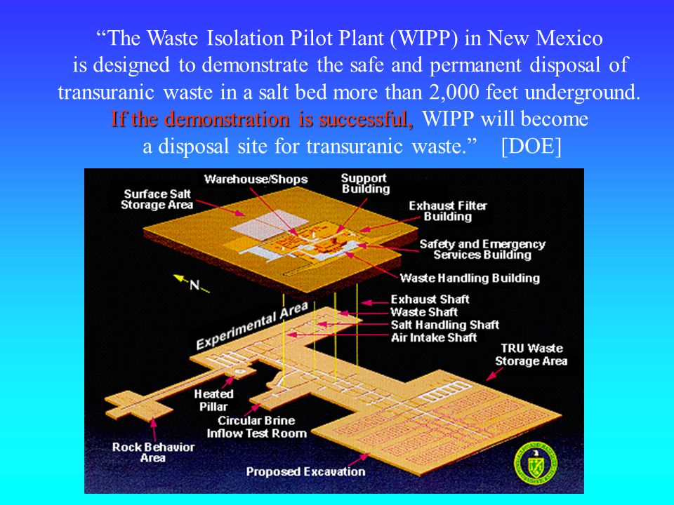The Waste Isolation Pilot Plant (WIPP) in New Mexico is designed to demonstrate the safe and permanent disposal of transuranic waste in a salt bed more than 2,000 feet underground.