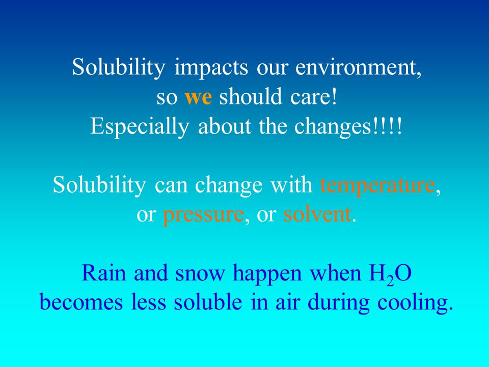 Solubility impacts our environment, so we should care.