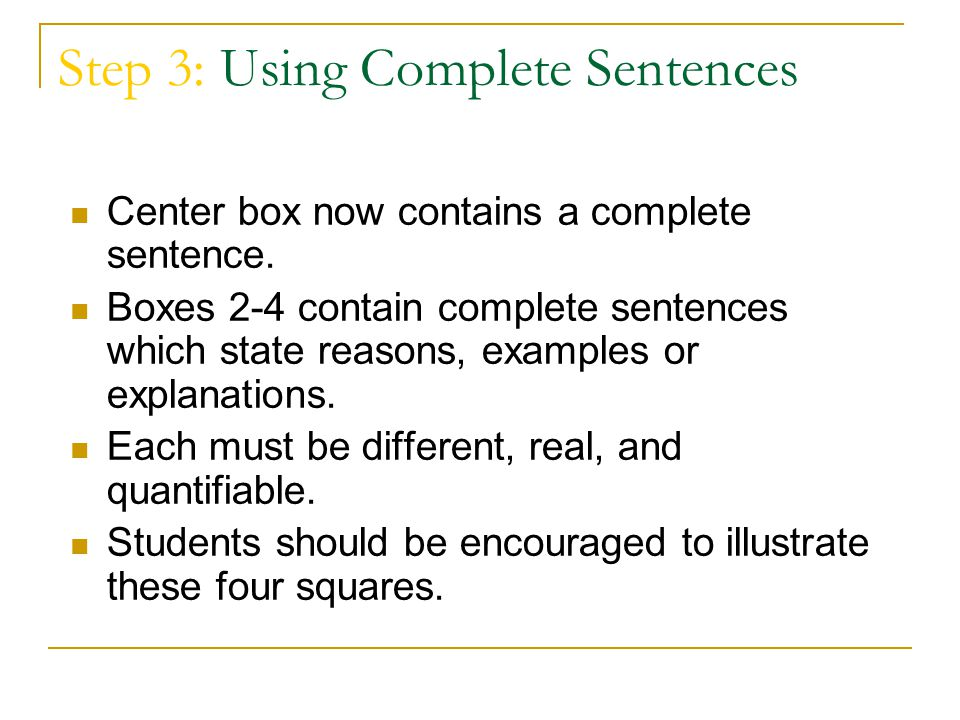 Step 3: Using Complete Sentences Center box now contains a complete sentence. Boxes 2-4 contain complete sentences which state reasons, examples or ex