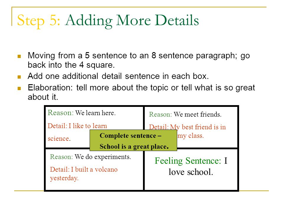 Step 5: Adding More Details Moving from a 5 sentence to an 8 sentence paragraph; go back into the 4 square. Add one additional detail sentence in each